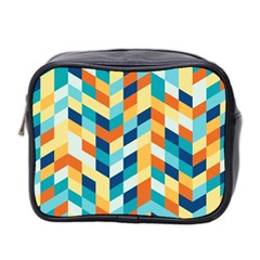 Geometric Retro Wallpaper Mini Toiletries Bag 2 Side