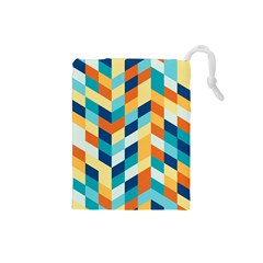 Geometric Retro Wallpaper Drawstring Pouches (small)