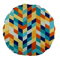 Geometric Retro Wallpaper Large 18  Premium Flano Round Cushions