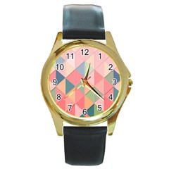 Background Geometric Triangle Round Gold Metal Watch