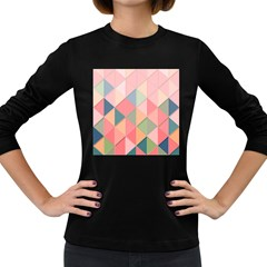 Background Geometric Triangle Women s Long Sleeve Dark T Shirts