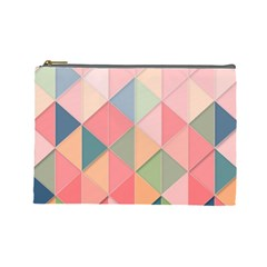 Background Geometric Triangle Cosmetic Bag (large)