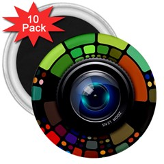 Lens Photography Colorful Desktop 3  Magnets (10 Pack)