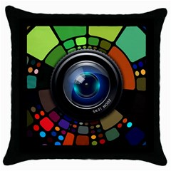 Lens Photography Colorful Desktop Throw Pillow Case (black)