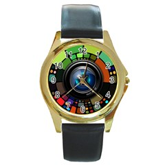 Lens Photography Colorful Desktop Round Gold Metal Watch