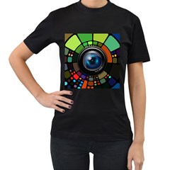 Lens Photography Colorful Desktop Women s T Shirt (black) (two Sided)
