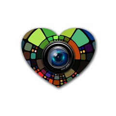 Lens Photography Colorful Desktop Heart Coaster (4 Pack)