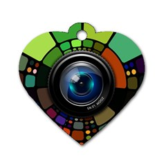 Lens Photography Colorful Desktop Dog Tag Heart (one Side)