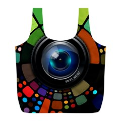 Lens Photography Colorful Desktop Full Print Recycle Bags (l)