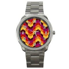 Geometric Pattern Triangle Sport Metal Watch