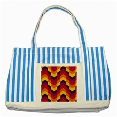 Geometric Pattern Triangle Striped Blue Tote Bag by Nexatart