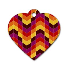 Geometric Pattern Triangle Dog Tag Heart (one Side)