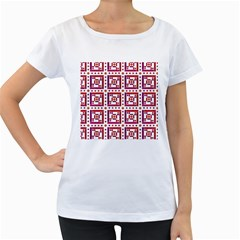 Background Abstract Square Women s Loose Fit T Shirt (white)