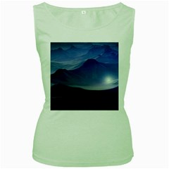 Planet Discover Fantasy World Women s Green Tank Top