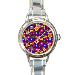 Flower Pattern Illustration Background Round Italian Charm Watch