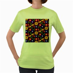 Flower Pattern Illustration Background Women s Green T Shirt