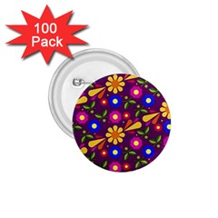 Flower Pattern Illustration Background 1 75  Buttons (100 Pack)