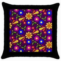 Flower Pattern Illustration Background Throw Pillow Case (black)