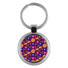 Flower Pattern Illustration Background Key Chains (round)