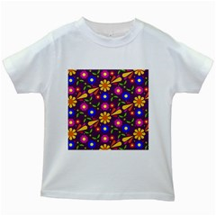 Flower Pattern Illustration Background Kids White T Shirts