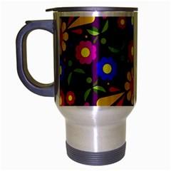 Flower Pattern Illustration Background Travel Mug (silver Gray)