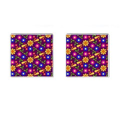 Flower Pattern Illustration Background Cufflinks (square) by Nexatart