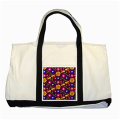 Flower Pattern Illustration Background Two Tone Tote Bag