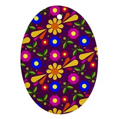 Flower Pattern Illustration Background Oval Ornament (two Sides) by Nexatart