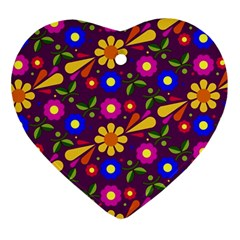Flower Pattern Illustration Background Heart Ornament (two Sides)