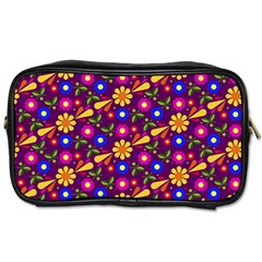 Flower Pattern Illustration Background Toiletries Bags