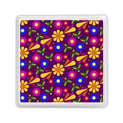 Flower Pattern Illustration Background Memory Card Reader (square)