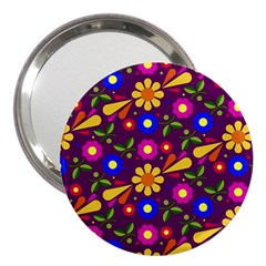 Flower Pattern Illustration Background 3  Handbag Mirrors