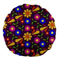 Flower Pattern Illustration Background Large 18  Premium Round Cushions