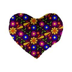 Flower Pattern Illustration Background Standard 16  Premium Heart Shape Cushions