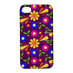 Flower Pattern Illustration Background Apple Iphone 4/4s Hardshell Case With Stand
