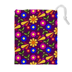 Flower Pattern Illustration Background Drawstring Pouches (extra Large)