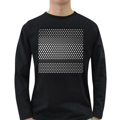 Holes Sheet Grid Metal Long Sleeve Dark T Shirts