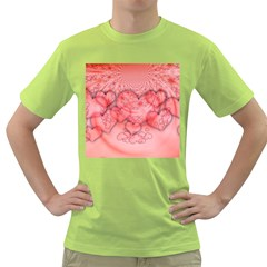 Heart Love Friendly Pattern Green T Shirt