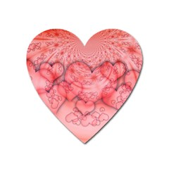 Heart Love Friendly Pattern Heart Magnet by Nexatart