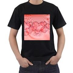 Heart Love Friendly Pattern Men s T Shirt (black) (two Sided)