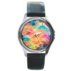 Texture Background Squares Tile Round Metal Watch