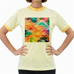 Texture Background Squares Tile Women s Fitted Ringer T Shirts