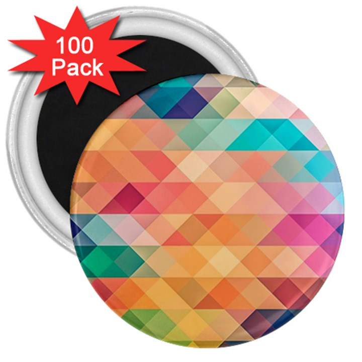 Texture Background Squares Tile 3  Magnets (100 pack)