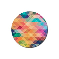 Texture Background Squares Tile Rubber Round Coaster (4 Pack)