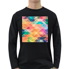 Texture Background Squares Tile Long Sleeve Dark T Shirts