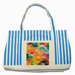 Texture Background Squares Tile Striped Blue Tote Bag