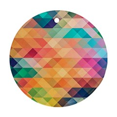 Texture Background Squares Tile Round Ornament (two Sides)