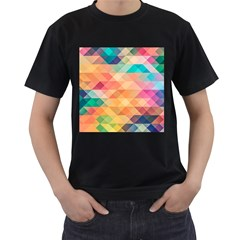 Texture Background Squares Tile Men s T Shirt (black)