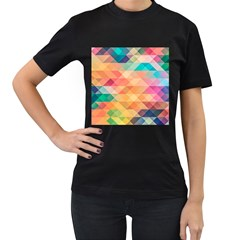 Texture Background Squares Tile Women s T Shirt (black)