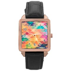 Texture Background Squares Tile Rose Gold Leather Watch